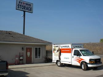 Office with uhaul truck